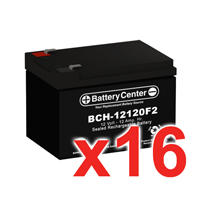 12v 12Ah SLA (sealed lead acid) High Rate Battery Set of Sixteen