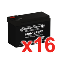 12v 7.5Ah SLA (sealed lead acid) High Rate Battery Set of Sixteen