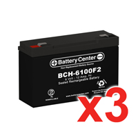 6v 12Ah High Rate SLA (sealed lead acid) Battery Set of Three