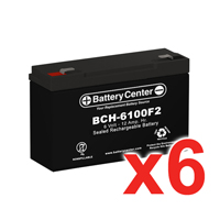 6v 12Ah High Rate SLA (sealed lead acid) Battery Set of Six
