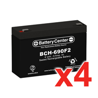 6v 9Ah High-Rate SLA (sealed lead acid) Battery Set of Four