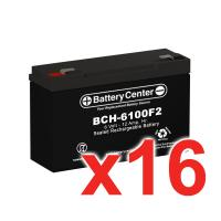 6v 12Ah High Rate SLA (sealed lead acid) Battery Set of Sixteen